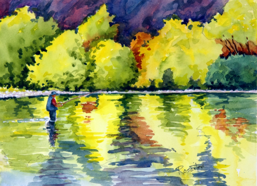 Name: Fishing in Fall | Location: Location unavailable | Print Size: 10 x 14 | Frame Size: No Frame | Price: $130*